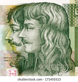 CROATIA - CIRCA 2001: Petar Zrinski (1621-1671) and Fran Krsto Frankopan (1643-1771) on 5 Kuna 2001 Banknote from Croatia.