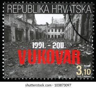 CROATIA - CIRCA 2011: A  stamp printed in the Croatia depicted twentieth anniversary of the destruction of Vukovar, circa 2011