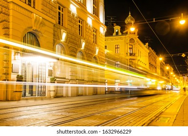 Croatia, city of Zagreb in the night, car and tram trails on the street, long exposure, city vibe