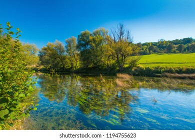 Croatia, countryside landscape, river Dobra in Novigrad, Karlovac county