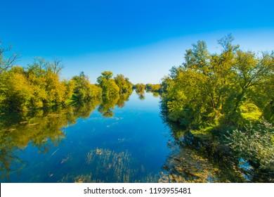 Croatia, countryside landscape, river Korana in Karlovac county