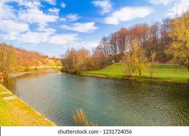 Croatia, Dobra river panoramic view of beautiful countryside landscape in Karlovac county
