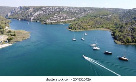 Croatia - droneview over beautiful Skradin