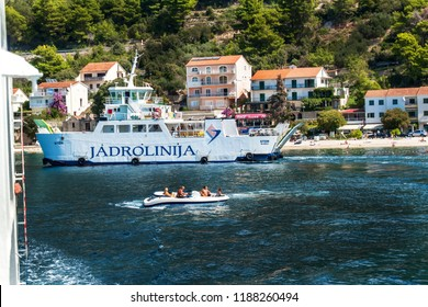 CROATIA, DRVENIK, September 8, 2018: Ferry Jadrolinija between islands of Croatia in Adriatic Sea. Sailing in the town of Drvenik on the island of Hvar
