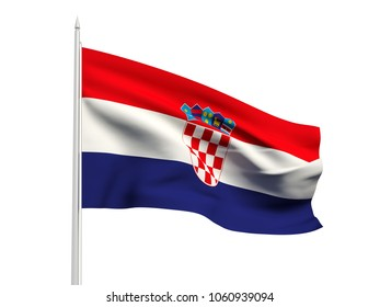 Croatia flag floating in the wind with a White sky background. 3D illustration.