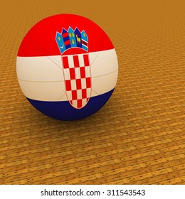 Croatia flag on basketball, over parquet background, 3d render, square image