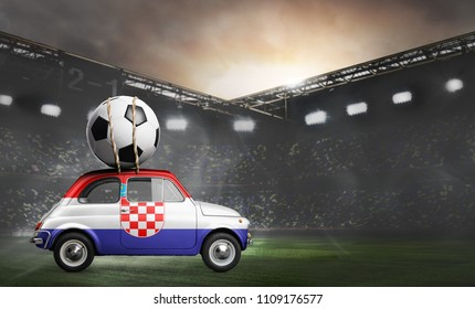 Croatia flag on car delivering soccer or football ball at stadium