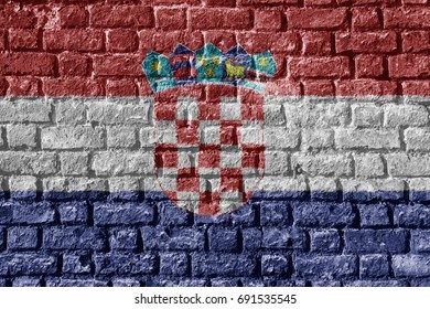 Croatia Flag Painted on brick wall