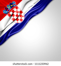Croatia  flag of silk with copyspace for your text or images and white background-3D illustration