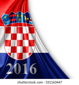 Croatia flag of silk ,number 2016 with copyspace for your text or images and white background