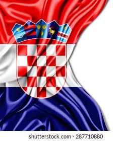 Croatia flag of silk and white background