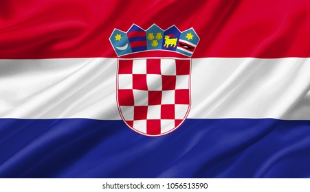 Croatia flag waving with the wind, 3D illustration.