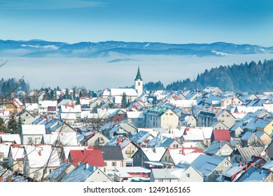 Croatia, Gorski kotar, town of Delnice in winter, panoramic view, houses under snow