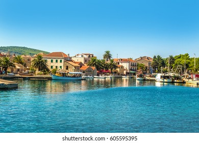 Croatia - island Hvar. Port and buildings of the city of Sucuraj. Dalmatia view from the sea side.