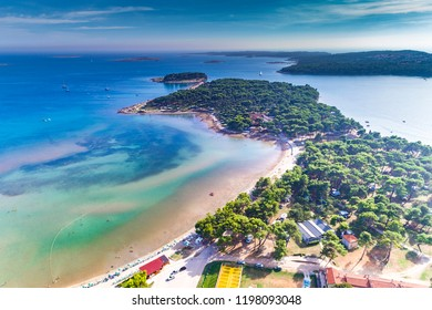 Croatia, Istria, aerial view of Medulin beach