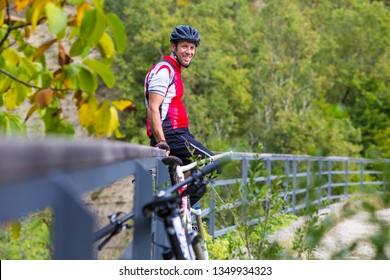 Croatia, Istria, Parenzana Biketrail, Portrait of Mountainbiker