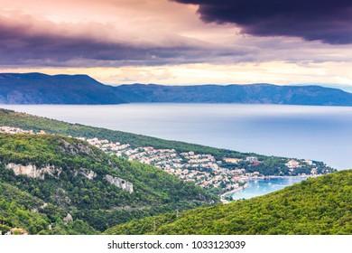 Croatia, Istria, view from Labin to Rabac and Kvarner bay