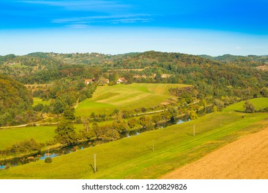 Croatia, Karlovac county, beautiful rural countryside landscape, panoramic view of river Dobra in Novigrad