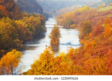 Croatia, Korana river valley near Karlovac, colorful fall landscape