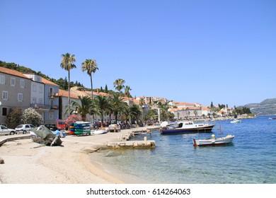 CROATIA, Korcula Island JULY 09, 2012: impressions of the city of korcula on the island in Croatia. Seascape of Island.