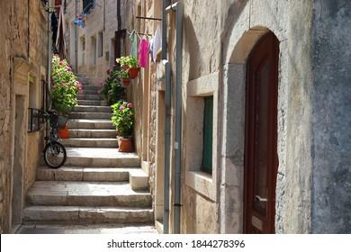 Croatia Korcula Town. Medieval fortified city on Korcula island. Narrow quaint streets.