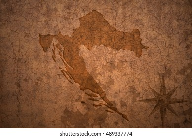 croatia map on a old vintage crack paper background