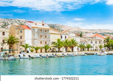 Croatia, marina and waterfront in small town of Pag on the island of Pag