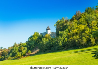 Croatia, Novigrad, Karlovac county, countryside landscape and old medieval fortress