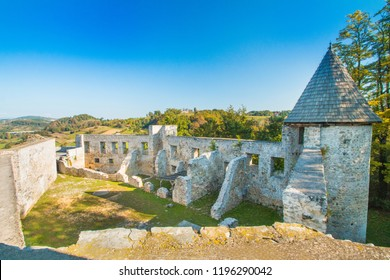 Croatia, Novigrad, Karlovac county, ruins of old medieval Frankopan fortress and countryside landscape