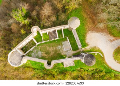 Croatia, Novigrad, Karlovac county, ruins of old medieval Frankopan fortress and countryside landscape, panoramic view from drone