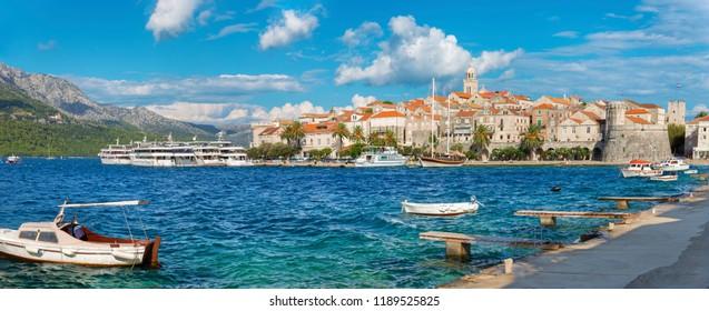 Croatia - The panorama of old town of Korcula.