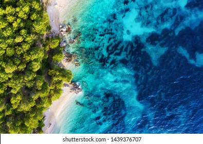 Croatia. Panoramic coast as a background from top view. Turquoise water background from top view. Summer seascape from air. Travel - image