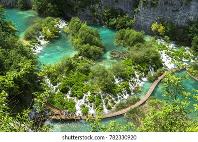 Croatia, Plitvice Lakes National Park, Panoramic view of the waterfalls (summer day)
