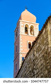 Croatia Rab island tower.Sunny summer day. View on a tower