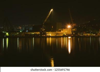 Croatia, Rijeka, night view of the port of Rijeka, city skyline