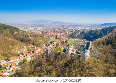 Croatia, Samobor, old abandoned medieval fortress ruins and landscape aerial view, city of Samobor ni background