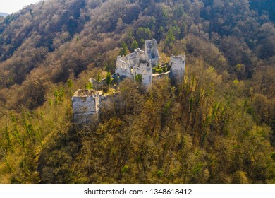 Croatia, Samobor, old abandoned medieval fortress ruins and landscape aerial view