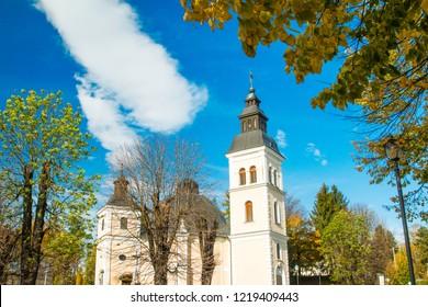 Croatia, Slavonia, town of Daruvar, main square and catholic church in autumn