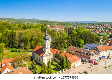 Croatia, Slavonia, town of Daruvar, main square and orthodox church in spring, panoramic drone view