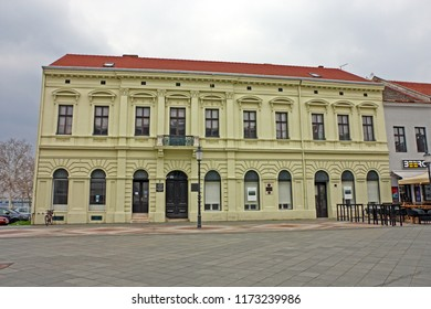 CROATIA SLAVONSKI BROD, 27 MARCH 2018: View of a house in center of Slavonski Brod  in which Ivana Brliæ Mažuraniæ, a famous Croatian writer for children lived and worked, Croatia