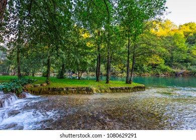 Croatia, Slunj. Amazing park above the water channels of the Korana river. Concept of ecological and photo tourism