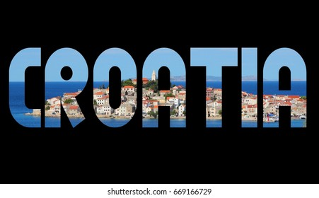 Croatia text sign - country name word photo silhouette.