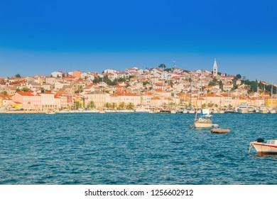 Croatia, town of Mali Losinj on the Island of Losinj, waterfront, beautiful summer day