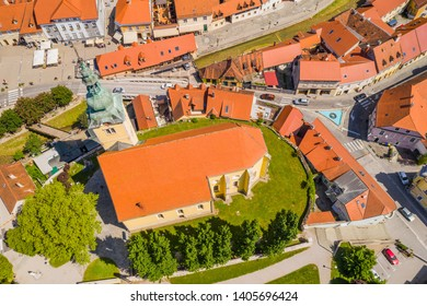 Croatia, town of Samobor, main square and church tower from drone, town skyline