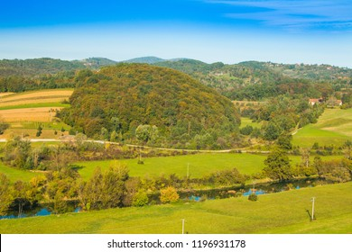 Croatia, valley of river Dobra, countryside landscape, panoramic view Karlovac county