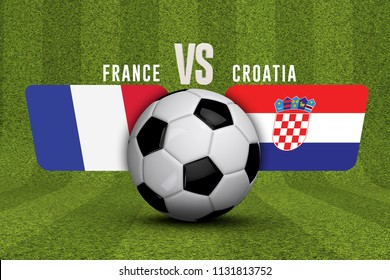 Croatia versus France soccer match. 3D Rendering