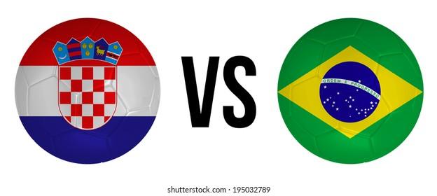 Croatia VS Brazil soccer ball concept isolated on white background