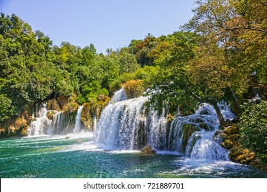 Croatia Waterfall of Krka lake, natural travel background, national park