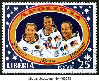 CROATIA ZAGREB, 1 AUGUST 2016: a stamp printed in Liberia shows Shepard, Roosa and Mitchell, Apollo 14 Moon Landing, circa 1971