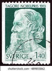 CROATIA ZAGREB, 1 AUGUST 2016: a stamp printed in Sweden shows Rabindranath Tagore, Writer and Painter, Winner of 1913 Nobel Prize, circa 1973